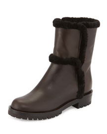 Shearling-Lined Leather Short Boot, Mocha