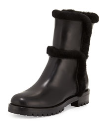 Shearling-Lined Leather Short Boot, Black