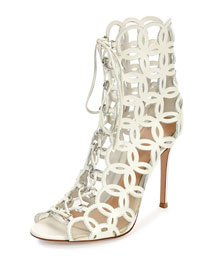 Laser-Cut Open-Toe Leather Ankle Boot, Off White