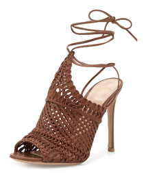 Leather Woven Net Sandal, Luggage