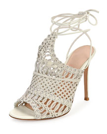 Leather Woven Net Sandal, Off White