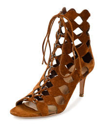 Curvy Cutout Lace-Up Sandal, Luggage