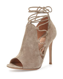 Side Lace-Up Peep-Toe Bootie, Cashmere