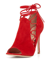 Side Lace-Up Peep-Toe Bootie, Tabasco Red