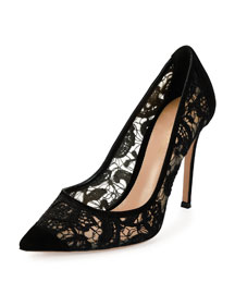 Suede & Lace 105mm Pump, Black