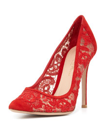 Suede & Lace 105mm Pump, Tabasco Red