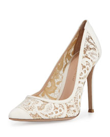 Suede & Lace 105mm Pump, Off White