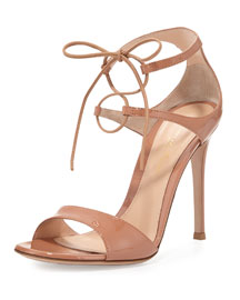 Patent Double Ankle-Wrap Sandal, Powder