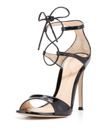 Patent Double Ankle-Wrap Sandal, Black