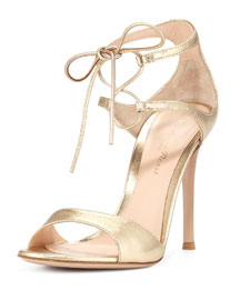 Metallic Double Ankle-Wrap Sandal