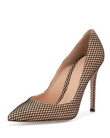 Marilyn Mesh-Print 105mm Pump, Nude