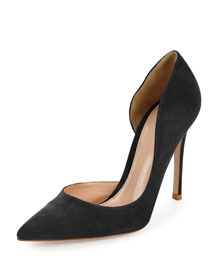 Suede Half-d'Orsay 105mm Pump, Black