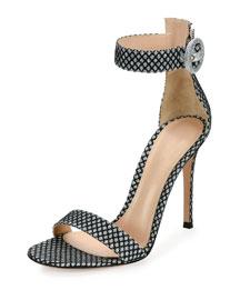 Marilyn Glittered Mesh d'Orsay Sandal, Glitter Silver