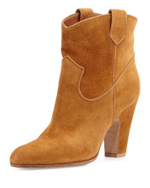 Western Suede Ankle Boot, Luggage