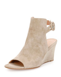 Suede Peep-Toe Wedge Sandal, Cashmere