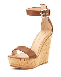 Napa Leather Cork Wedge Sandal, Luggage