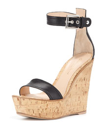 Napa Leather Cork Wedge Sandal, Black