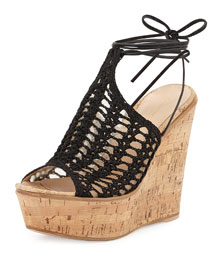 Crocheted Mesh Platform Wedge Sandal, Black