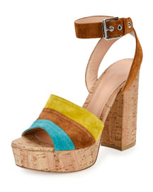 Colorblock Suede Ankle-Wrap Sandal, Cyan/Luggage/Must