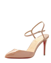 Rivierina Patent Ankle-Wrap Red Sole Pump, Nude