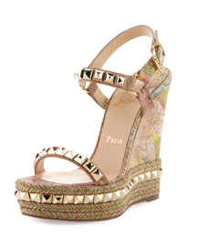 Cataclou Blooming Cork Wedge Sandal, Multi/Light Gold