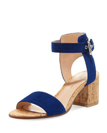 Suede Cork-Heel City Sandal, Hawaii