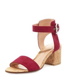 Suede Cork-Heel City Sandal, Flamingo
