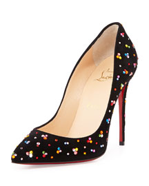 Pigalle Follies Crystal Red Sole Pump, Black/Multi