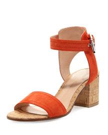 Suede Cork-Heel City Sandal, Mandarin