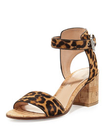 Leopard-Print Calf-Hair City Sandal