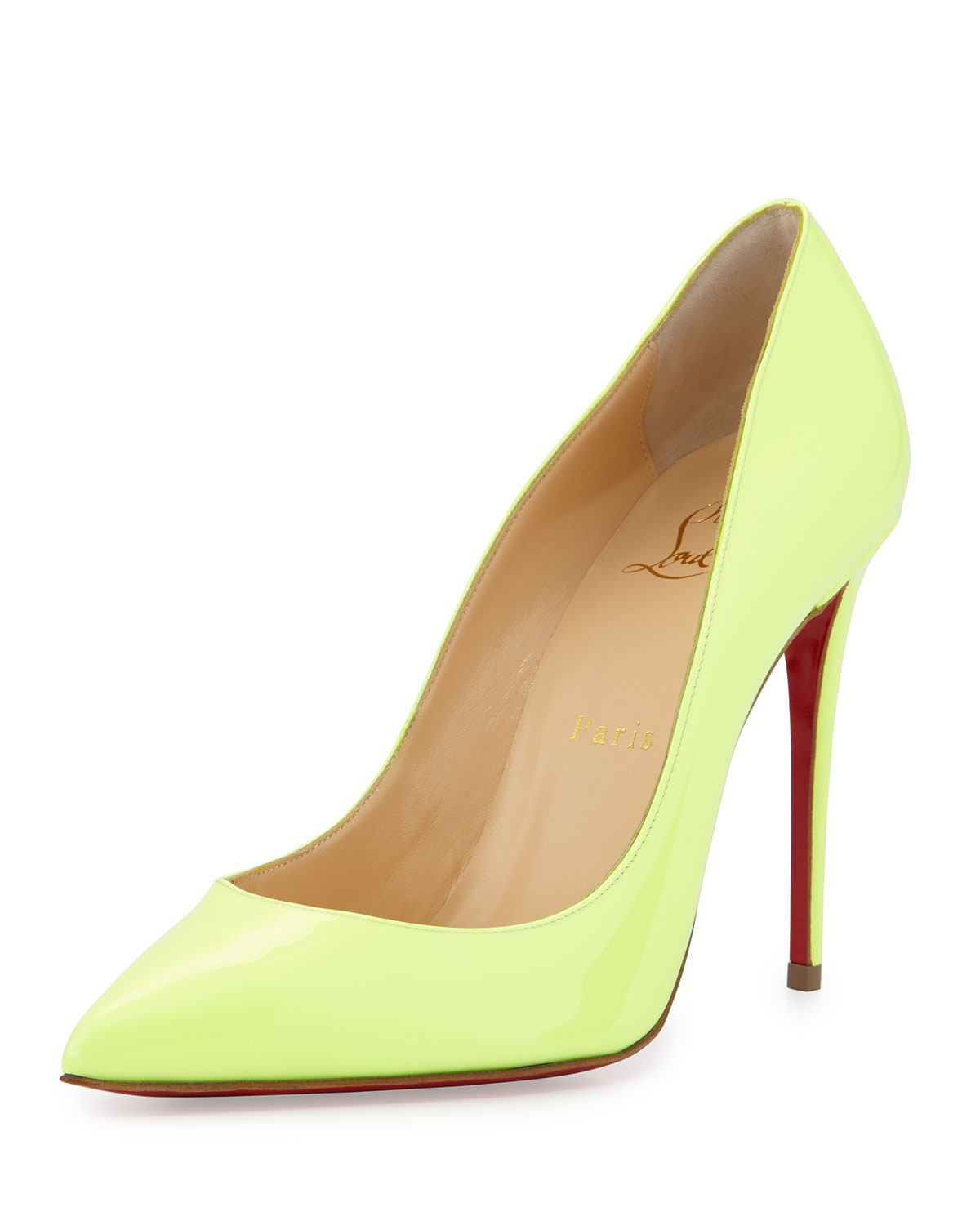 Christian Louboutin Pigalle Follies Patent 100mm Red Sole Pump, Neon, Women's, Size: 42.0B/12.0B