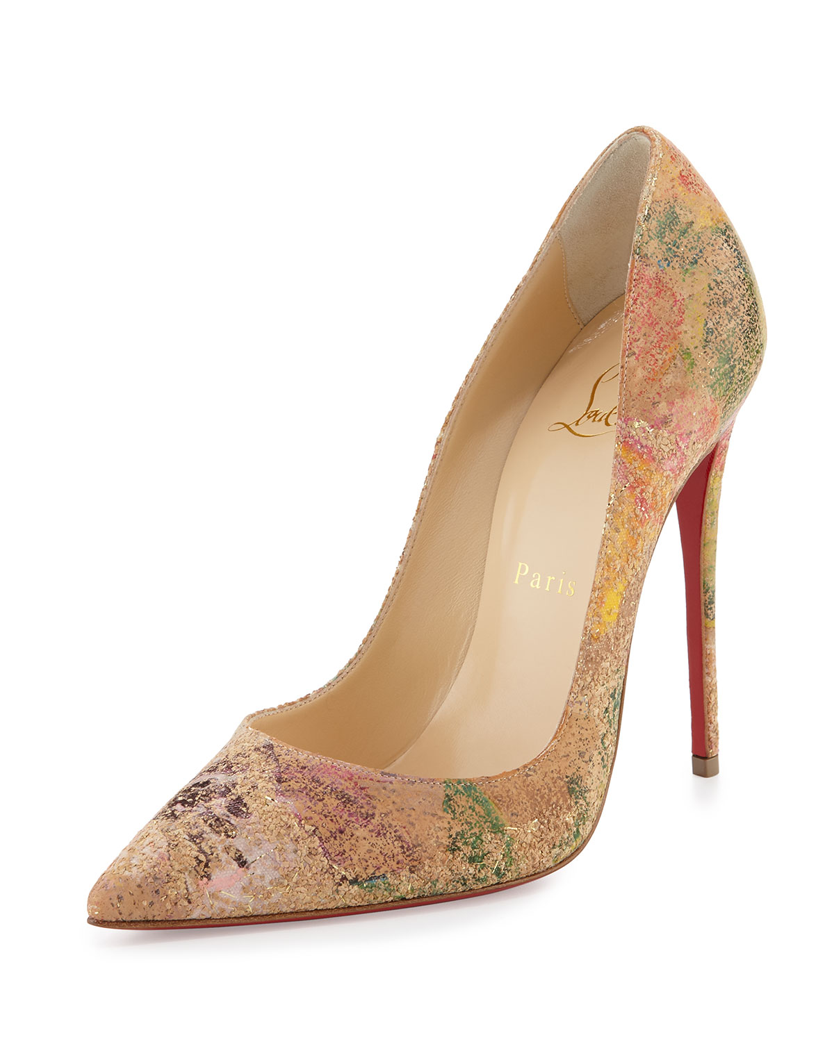 Christian Louboutin So Kate Blooming-Cork 120mm Red Sole Pump, Multi Colors, Women's, Size: 39.5B/9.5B