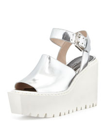 Luna Metallic Wedge Sandal, Silver