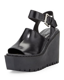 Luna Leather Wedge Sandal, Black