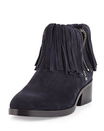 Alexa Fringed Suede Ankle Bootie, Night