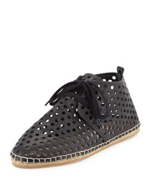 Miki Perforated Leather Lace-Up Espadrille Flat, Black