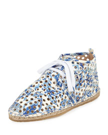 Miki Perforated Leather Lace-Up Espadrille, Porcelain Print