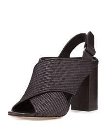 Faine Woven Jute Sandal, Black