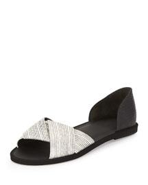 Idara Lizard-Print d'Orsay Flat Sandal, Black/White