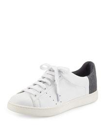 Varin Leather Low-Top Sneaker, Plaster/Dark Denim