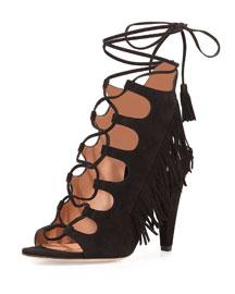 Marita Ghillie-Tie Fringe Sandal, Black