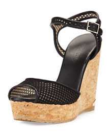 Perla Mesh Wedge Sandal, Black