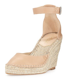Milly Leather Espadrille Wedge Pump, Natural