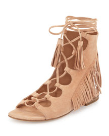 Azzia Suede Ghillie-Tie Sandal, Cipria