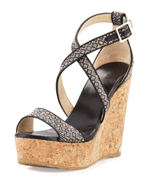 Portia Woven Wedge Sandal, Black/Marble