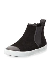 Della Shearling-Lined Suede Sneaker, Black