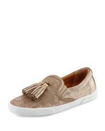 Dale Shimmery Suede Tassel Sneaker, Sand