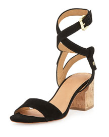 Rina Suede City Sandal, Black