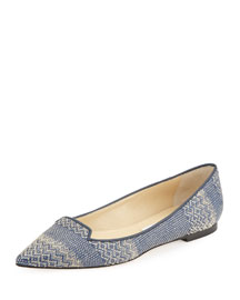 Attila Woven Fabric Loafer, Navy/Marble