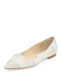 Attila Woven Fabric Loafer, White/Marble